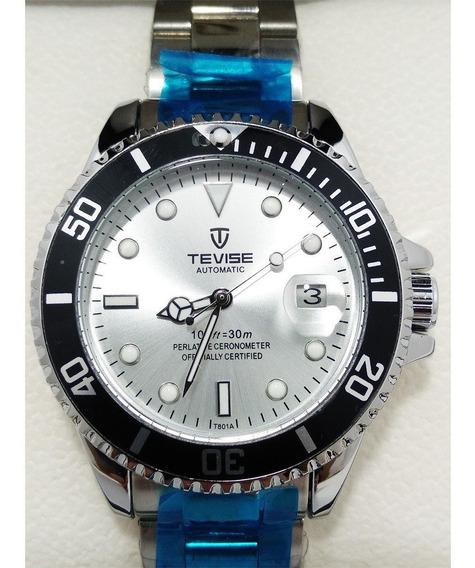 Relógio Masculino Tevise T801a Automático Prata Original