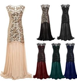 Women Sequined Gown Dress Sleeveless Pearls Mesh Ruffles Hem