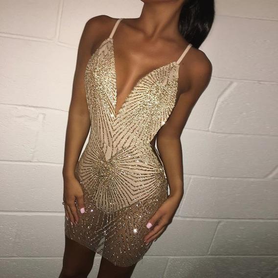 Lentejuela Sexy Espaguetis Correa Mini Vestido Mujeres Sin M