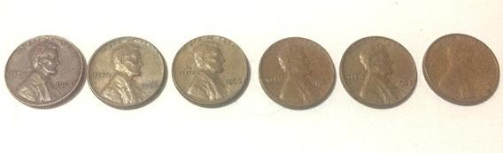 Lote 6 Monedas 1 Centavo De Usa Años 1964 Al 1969