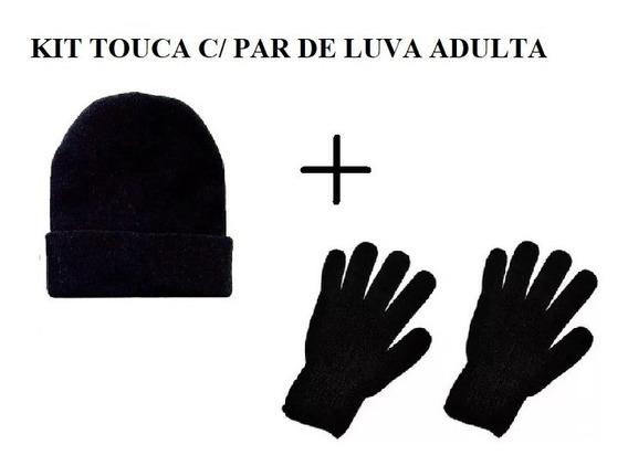 Luva + Touca Adulto Unissex Básica Lã Preta Inverno
