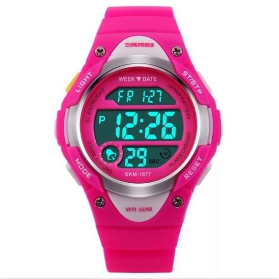 Relógio Feminino Infantil Led Digital Skmei 1077 Em Promoção