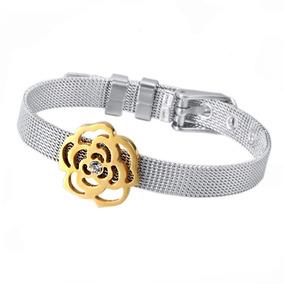 Pulseira Feminina Bracelete Aço Flor Folheada Ouro Prateada