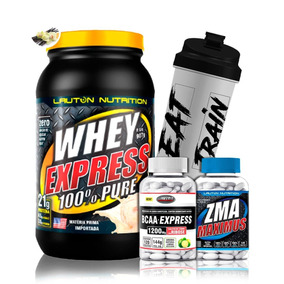 Kit Whey Express 907g + Bcaa +zma + Coq - Lauton Nutrition