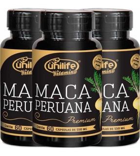 Kit 3 - Maca Peruana Premium 100% Pura 550mg - 180 Cápsulas