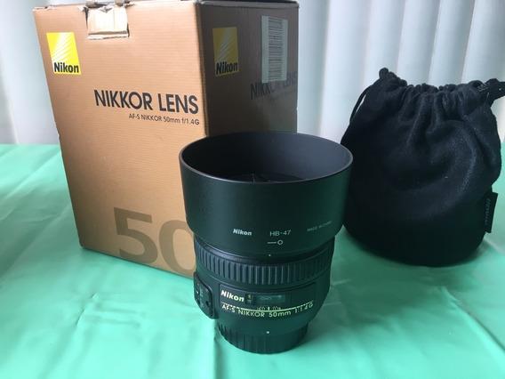 Lente Nikon 50mm F 1.4 Af-s G Com Filtro Hama 58mm