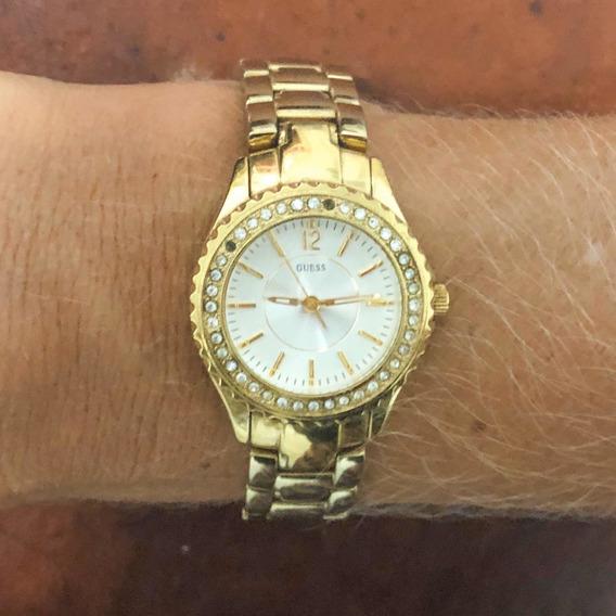 Relógio Guess Feminino Dourado Usado Em Ótimo Estado