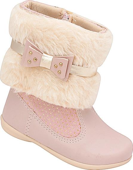 Bota Infantil Menina Plis Calçados Versátil Rosa 844