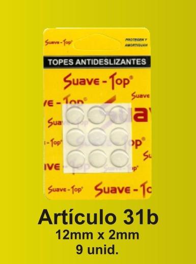 Suave Top Tope Antideslizante 12mmx2mm Blister X 9 U Jasper