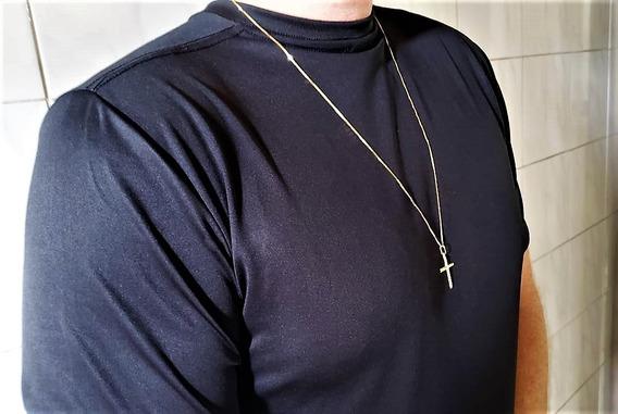Correntinha De Ouro 18k Masc Veneziana 70cm C/ping Crucifixo