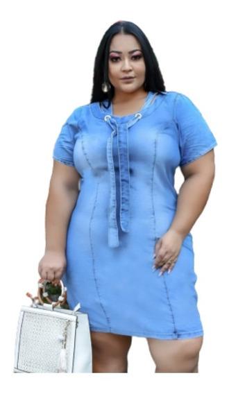 Roupas Femininas Vestido Jeans Plus Size Laço Gola Redonda