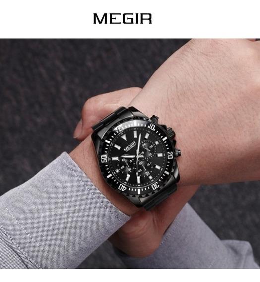 Relógio Masculino Megir Elegante Executivo Atacado Presente