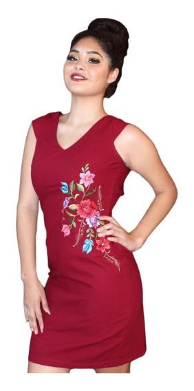 Vestido Formal Dzunun Color Vino De Lino Y Algodón