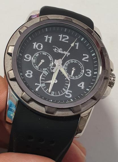 Reloj Disney Parks. Exclusivo. Acero Caucho Negro.