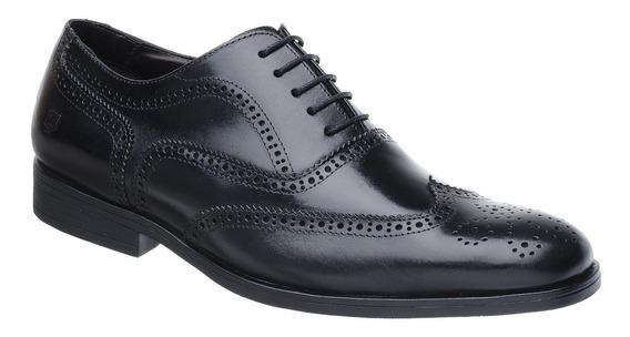 Sapato Oxford Malbork Solado Comfort Borracha Couro Preto