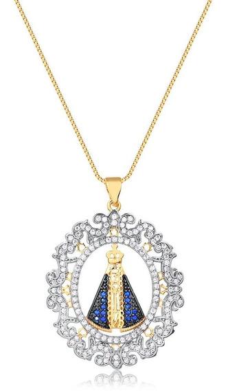 Colar Nossa Senhora Aparecida Com Detalhes Arabesco Folheado Em Ouro 18k - 3150000001078