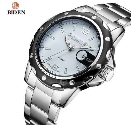 Relógio Biden 0012 4808 White Masculino Prata Aço