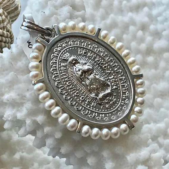Medalla De La Virgen De Guadalupe Oro Blanco 14 K Me14be9a8