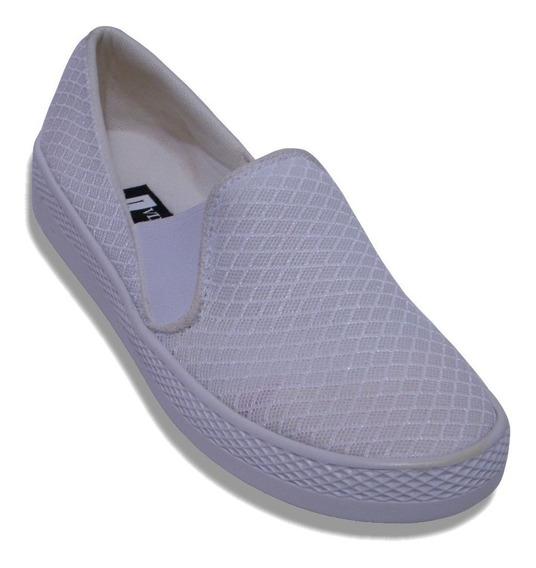 Zapato Confort Resorte Tenis Slip On Acojinado Plataforma
