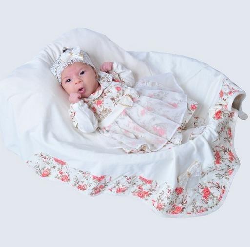 Saída De Maternidade Pandora Menina Realeza - Creme/palha