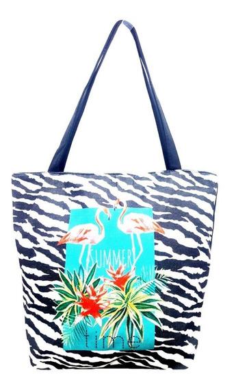 Bolsa Feminina C/alça Dupla Sacola Praia Lona Flamingo Verão