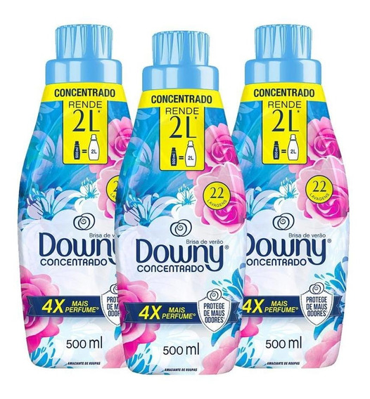Kit Amaciante Downy 4x Concentrado Brisa De Verão 500ml C/3