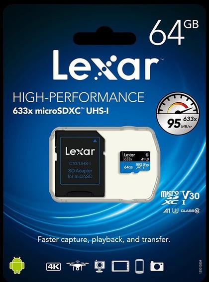Cartão Micro Sd 64gb Lexar 633x