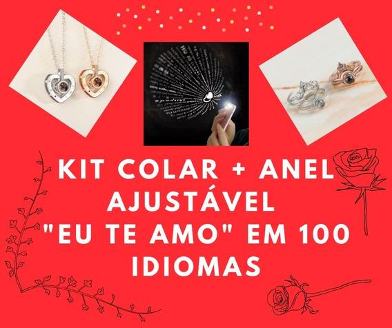 Kit Colar + Anel Ajustável Eu Te Amo Em 100 Idiomas