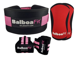Kit Fitness Muñequera Rodilleras Cinturón Balboafit