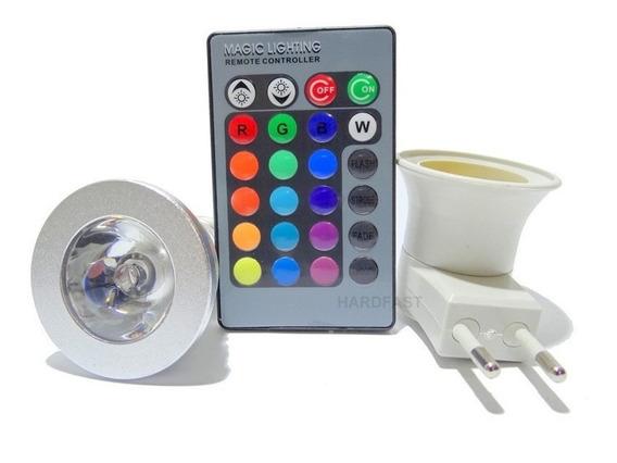 Kit 2x Lampadas Colorida 2x Soquetes De Tomada + Controle