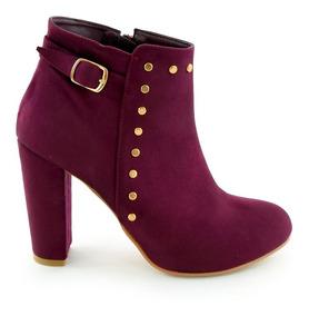 Zapatos Botin Dama Tacon Ancho Mujer Gamuza Purpura M4285