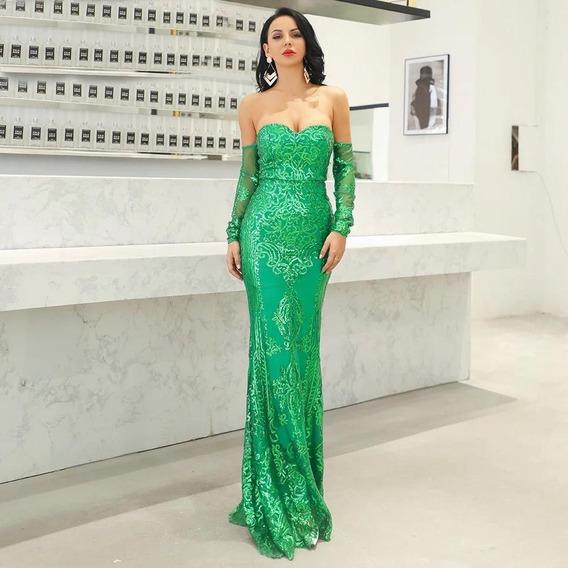 Vestido Longo Paetê Dourado/verde