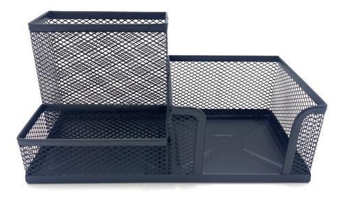 Imagen 1 de 4 de Porta Lápices Y Organizador Rejilla Triple De Metal