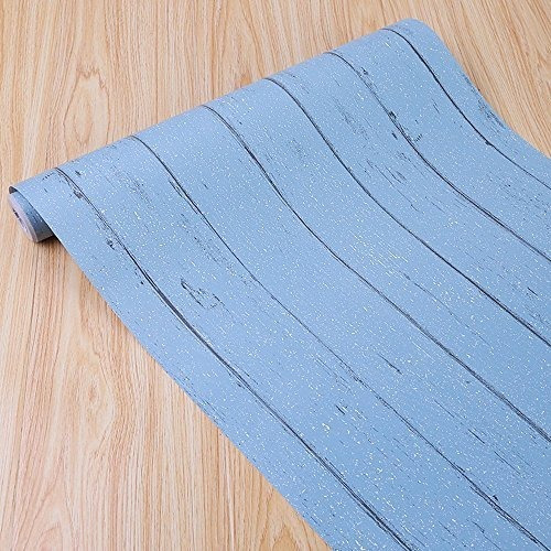 Simplelife4u Blue Wood Grain Contact Paper Selfadhesive Shel