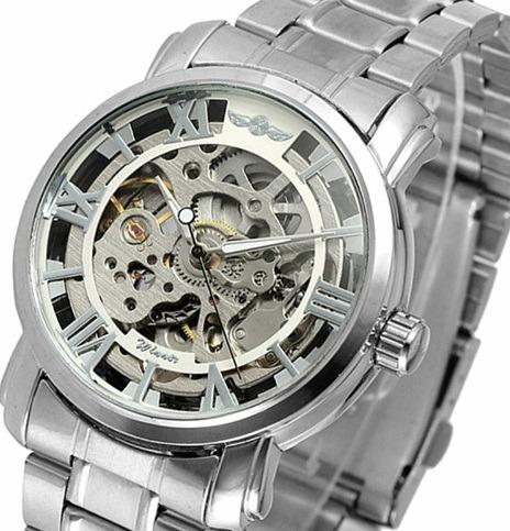 Relógio Masculino Automático Aço Inox Prata Skeleton