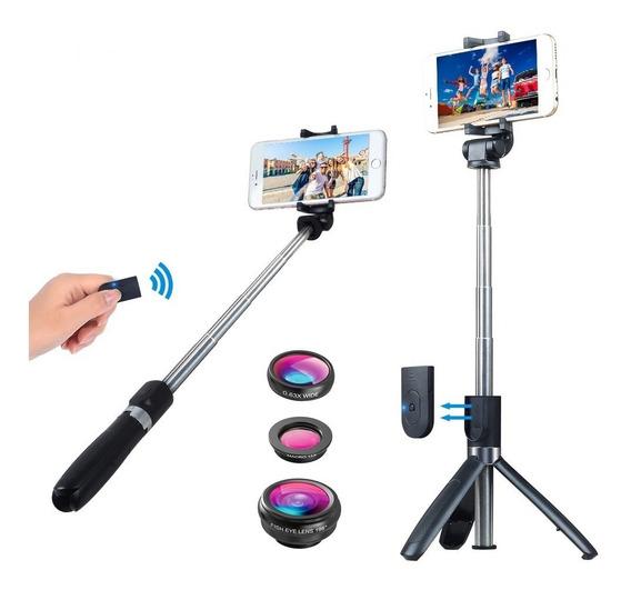 Kit Monopod Bastão Selfie Com Tripé + Bluetooth + 3 Lentes