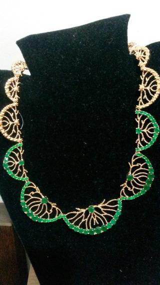 Colar Herreira Banho Ouro C/quartzo Verde Esmeralda