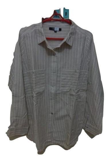 Camisa Dama Rayada De Lino C/ Bolsillos Y Botón P/arremangar