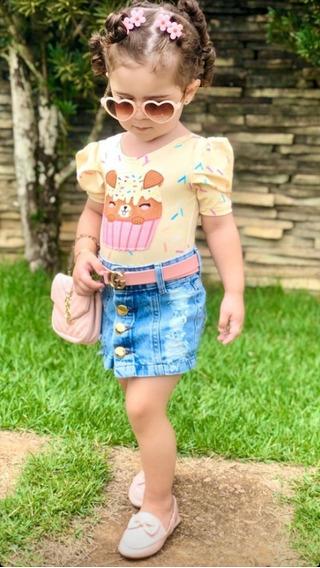 Saia Jeans Infantil Blogueirinha Mini Diva Tamanho 4