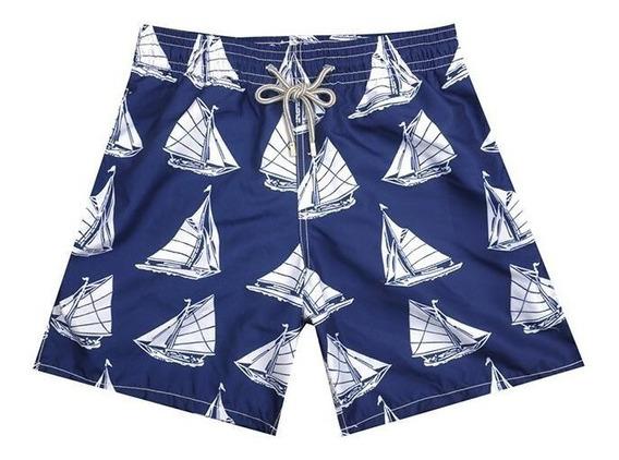 Shorts Vilebrequin Azul Mosaic Fish + Saquinho