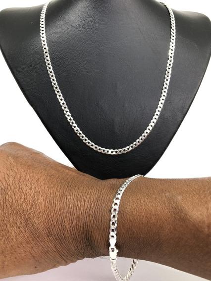 Corrente Cordão Grumet Em Prata 925 Masculina 4,5mm X 60cm