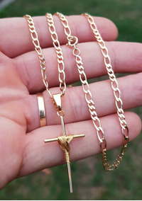 Corrente Cordão Elos 3x3 65cm Com Cruz Banhados A Ouro