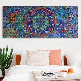 Cuadro Arte Huichol Mexicano En Lienzo Canvas 70x140cm