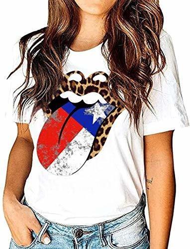 Eigiagwng Camiseta Con Bandera Americana Para Mujer Camiseta