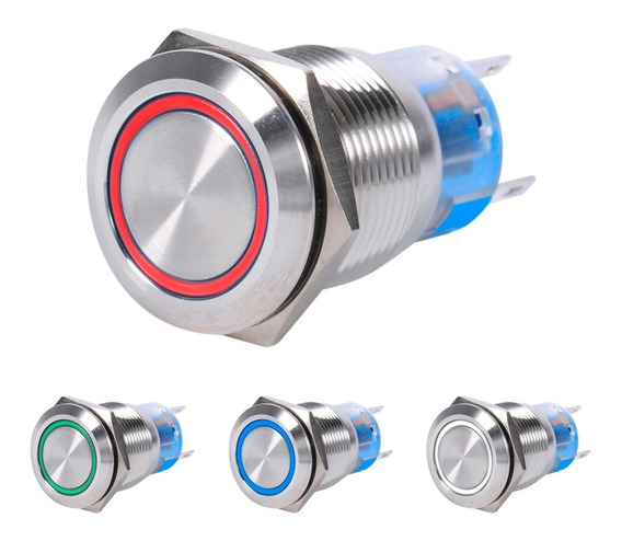 Botão Interruptor Led Aço Inox Momentâneo S/t 16mm 12/24v6a