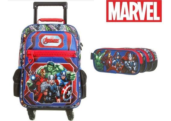 Kit Avengers Hulk Iron Man Mochilete 4 Rodas + Estojo Triplo