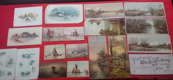 18 Antiguas Fotos Litografías Inglesas Color Barcos Postales