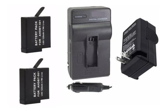 Kit 2 Baterias + 1 Carregador P/ Câmera Gopro Hero 6 Session