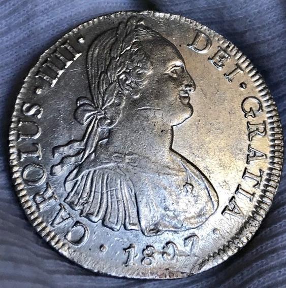 Moneda 8 Reales Mexico Carlos 4 1807 Excelente Plata