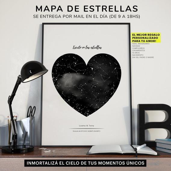 Mapa De Estrellas Corazón Envío Por Mail En 24hs Enamorados